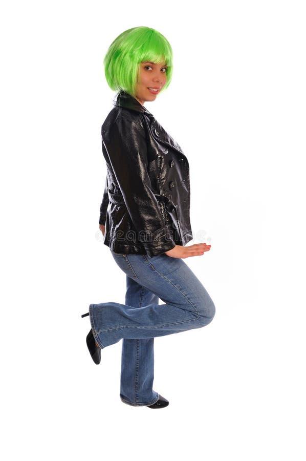 Punkschalthebel des grünen Haares stockbilder