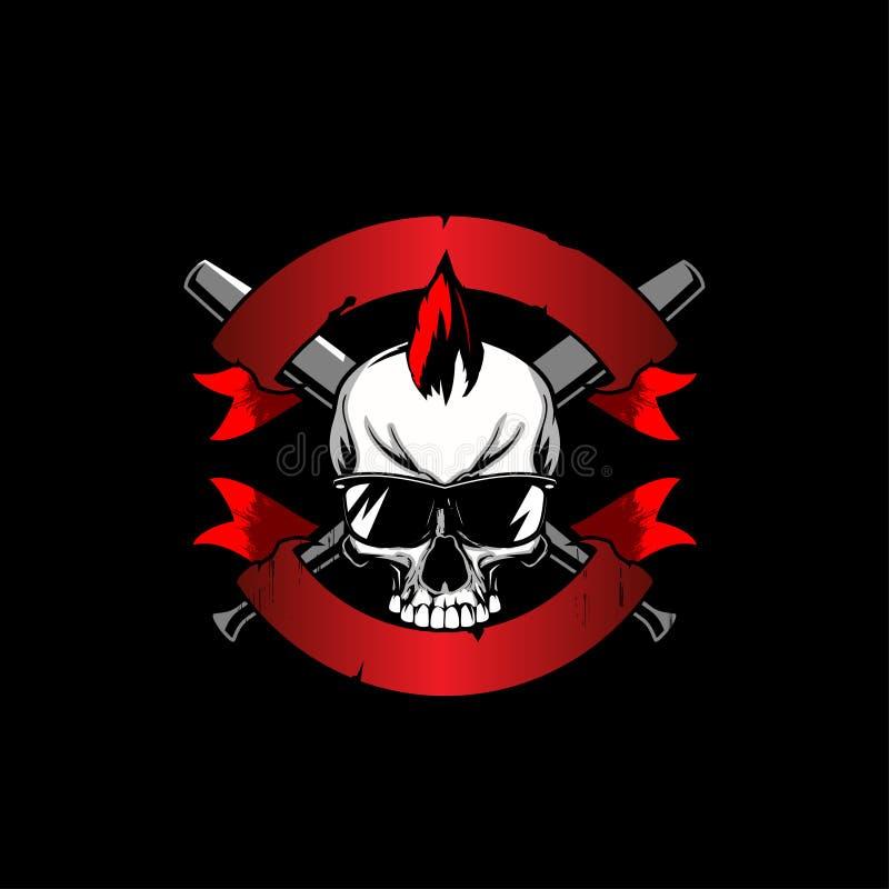 Punkschedel mohawk met van het honkbalknuppel en lint vector royalty-vrije illustratie