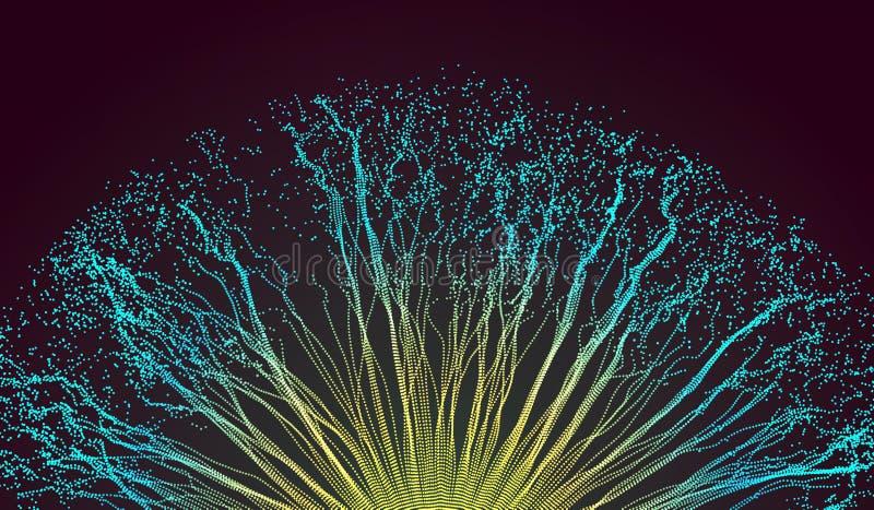 Punkt explodieren Reihe mit dynamischen ausgestrahlten Partikeln Art der Technologie-3D entziehen Sie Hintergrund Auch im corel a stock abbildung
