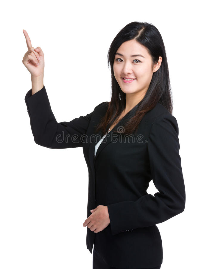 Punkt för finger för affärskvinna upp royaltyfri fotografi