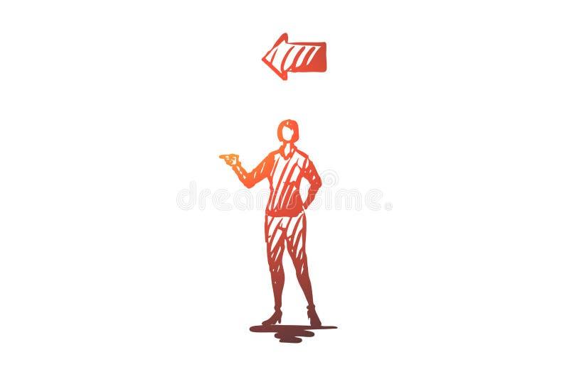 Punkt, Frau, Geste, Richtung, Pfeilkonzept Hand gezeichneter lokalisierter Vektor lizenzfreie abbildung