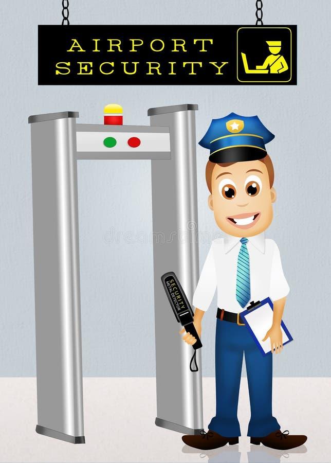 Punkt kontrolny w lotnisku ilustracji