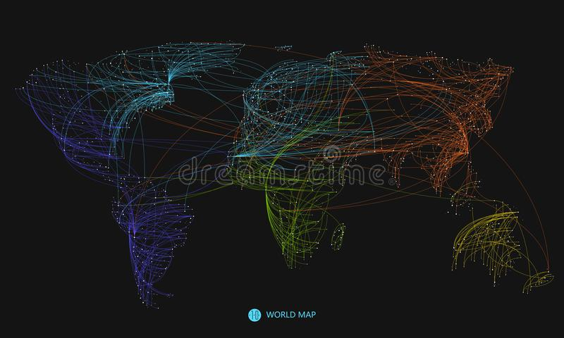 Punkt, kreskowy skład światowa mapa ilustracja wektor