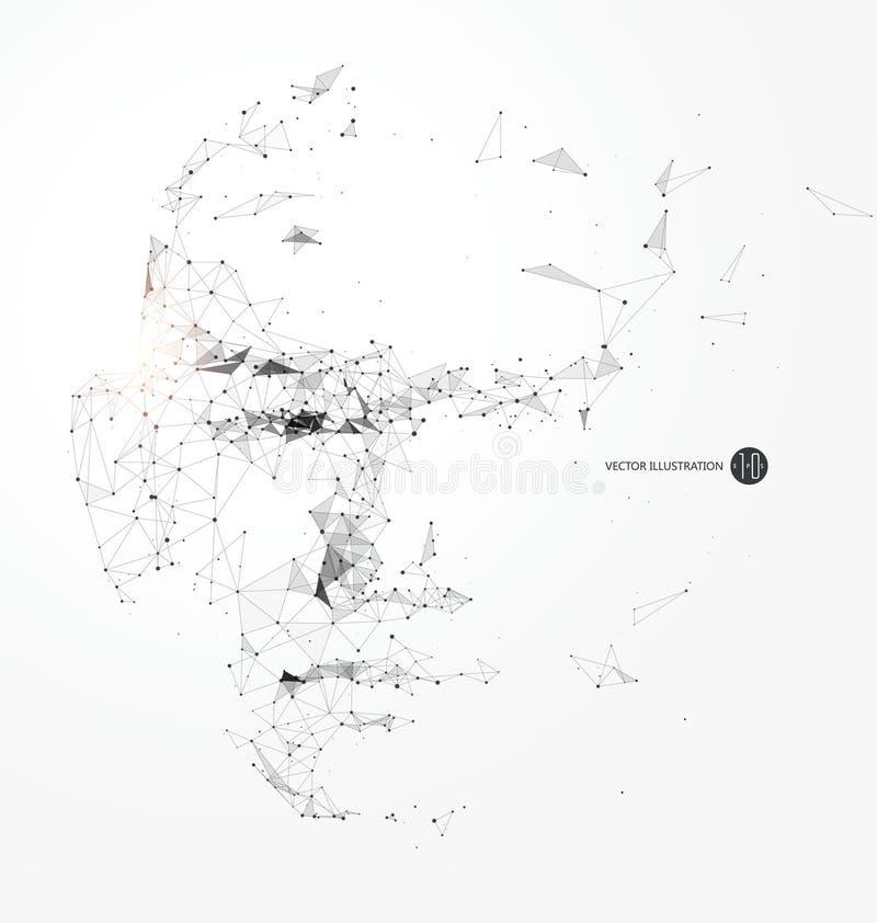 Punkt, Kreskowy związek od kierowniczego konturu, wektorowa ilustracja ilustracja wektor
