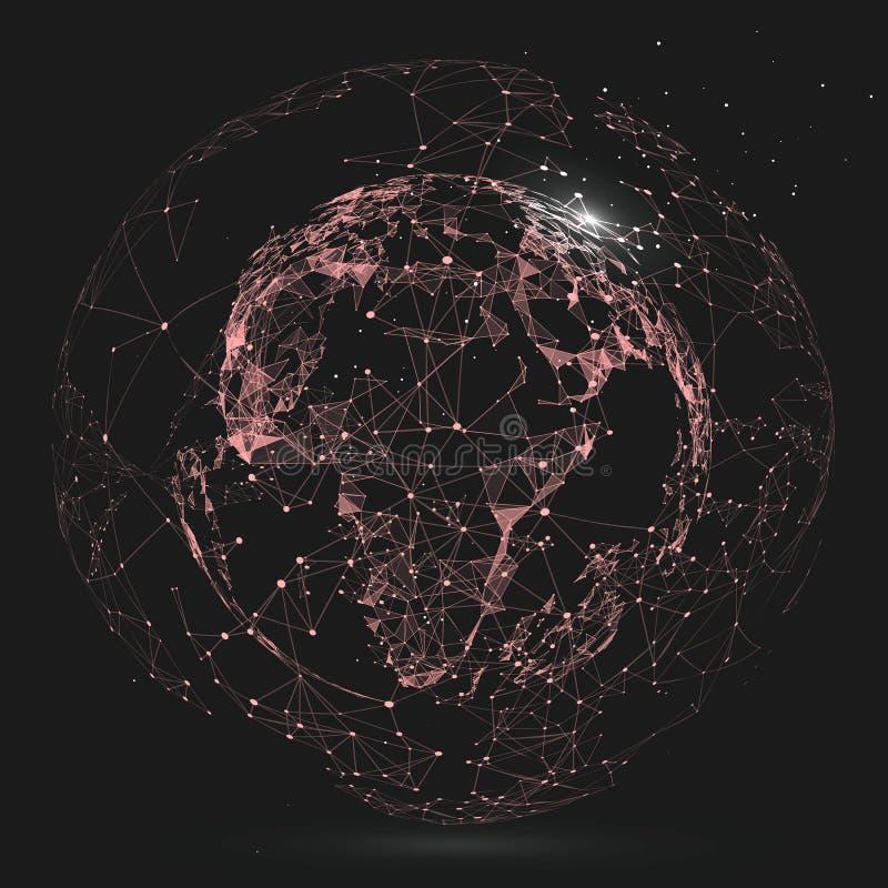 Punkt, linia i ustanawia abstrakcjonistyczną mapę świat ilustracji