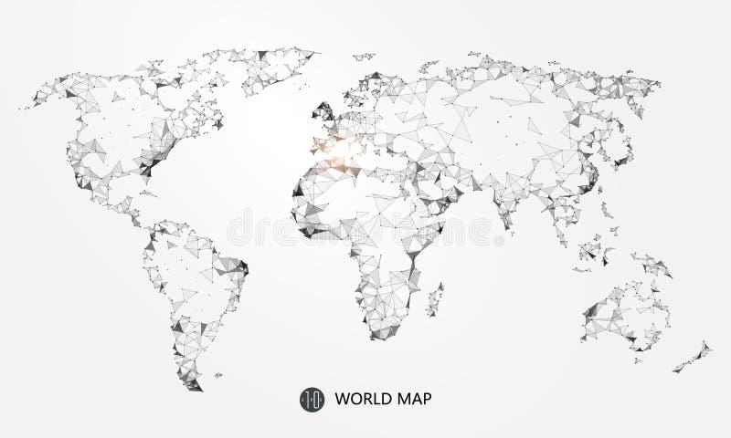 Punkt, linia, nawierzchniowy skład światowa mapa następstwa sieć związek royalty ilustracja