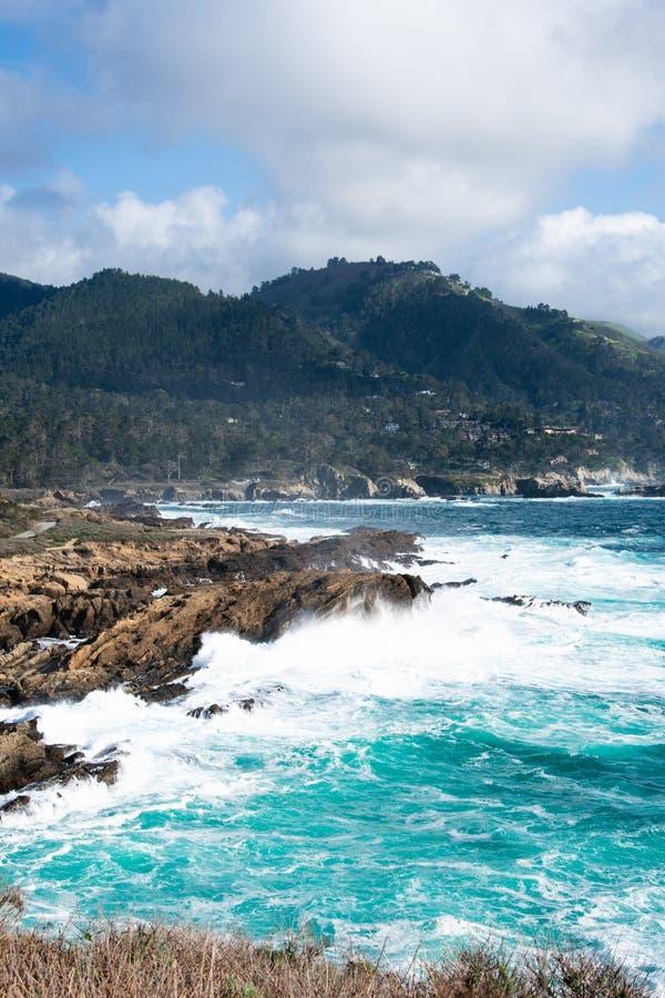 Punkt Lobos och den naturliga reserven för det punktLobos tillståndet är 'för Kalifornien för kronajuveln 'av delstatsparkarna' s arkivfoto