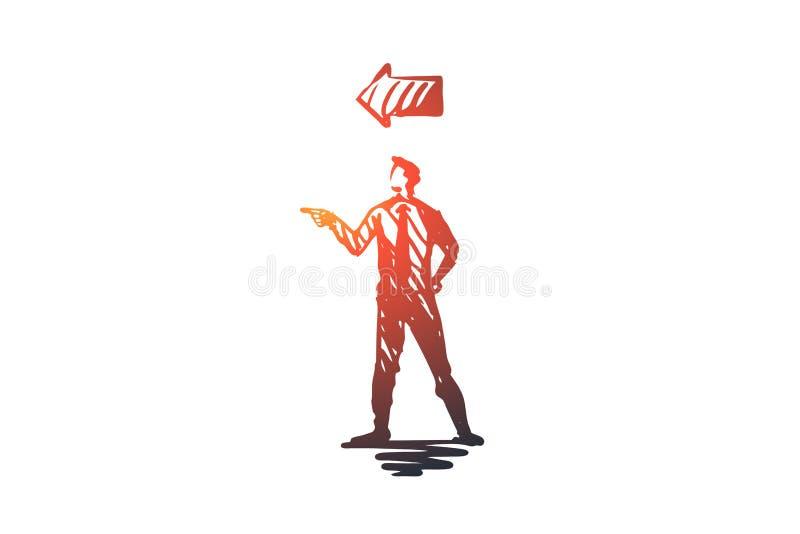 Punkt, mężczyzna, gest, kierunek, ręki pojęcie Ręka rysujący odosobniony wektor ilustracji