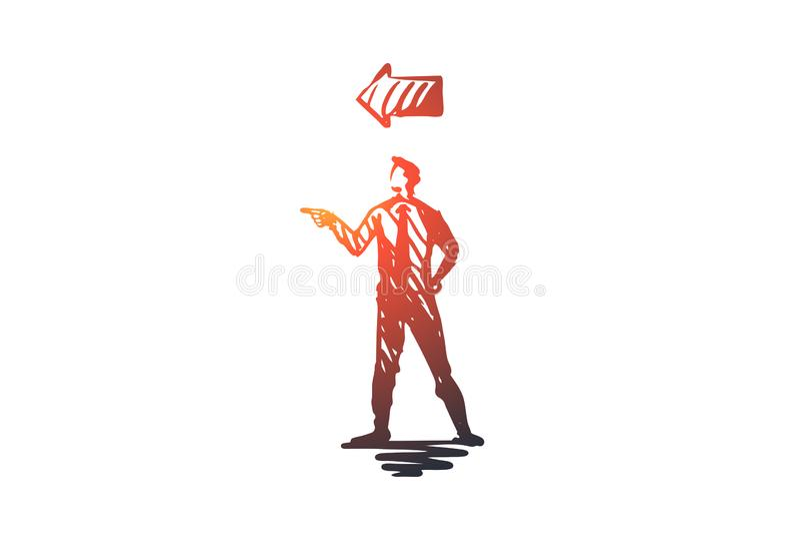 Punkt, Mann, Geste, Richtung, Armkonzept Hand gezeichneter lokalisierter Vektor stock abbildung