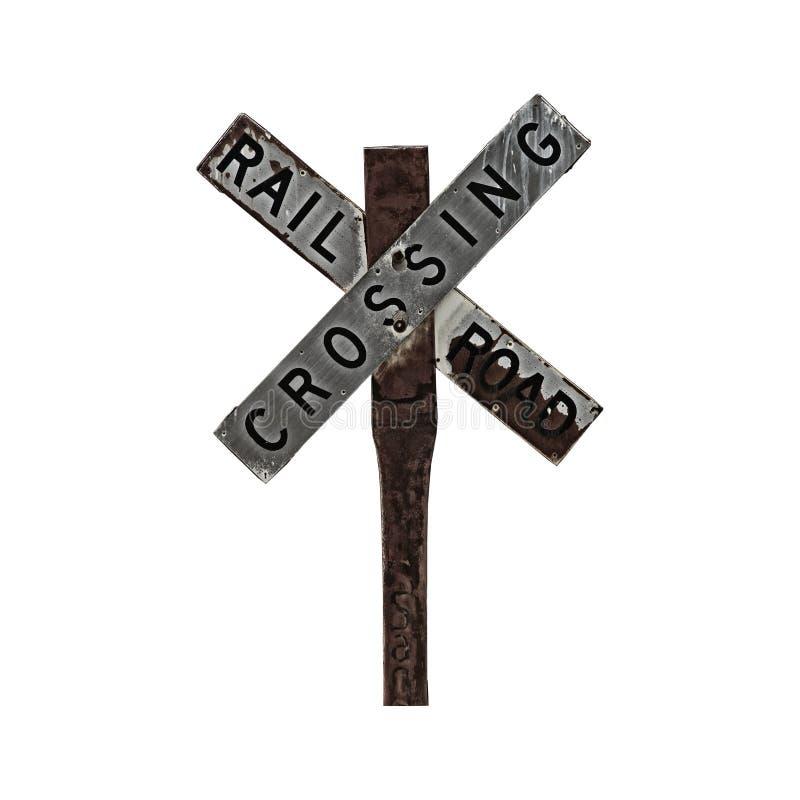 punkt przecięcia linii kolejowej znaku obraz stock