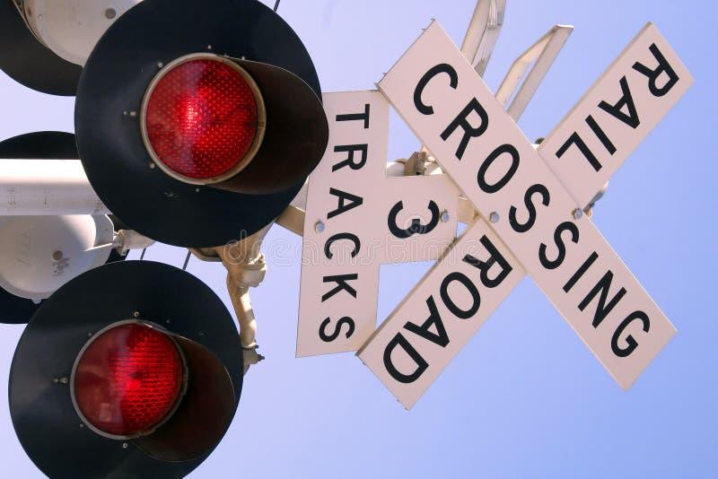punkt przecięcia linii kolejowej znaku fotografia royalty free
