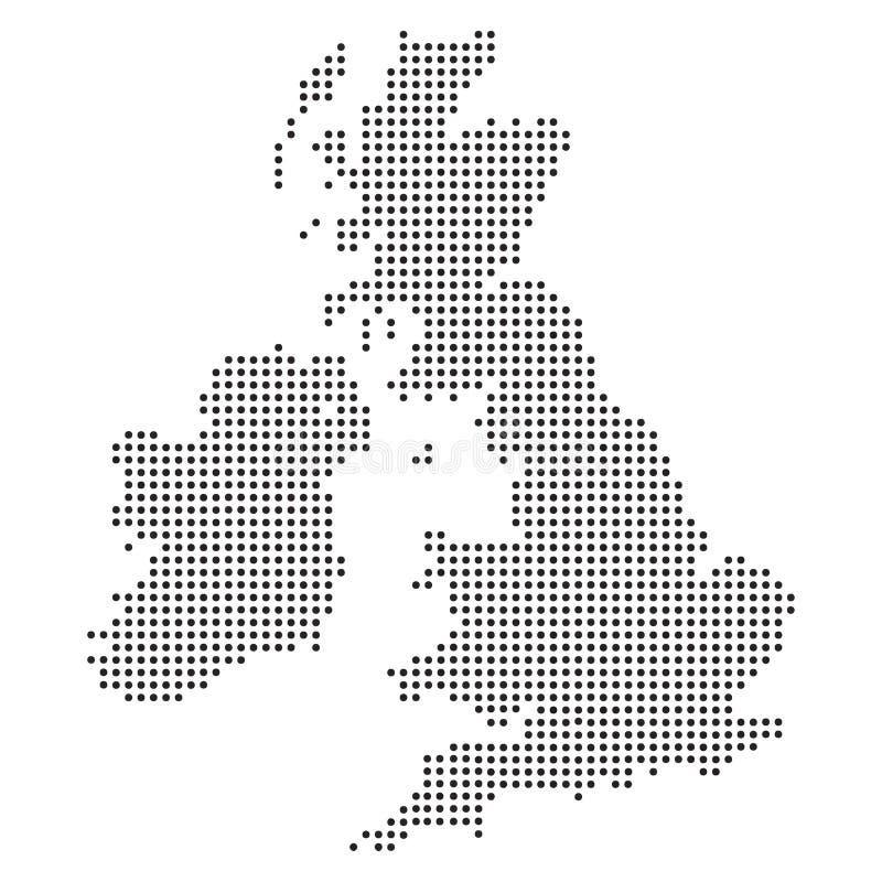 Punkt - punktiertes Vereinigtes Königreich - BRITISCHE Karte lizenzfreie abbildung