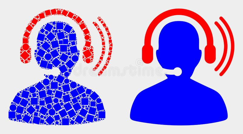Punkt und flache Vektor-Funker-Kopfhörer-Ikone vektor abbildung