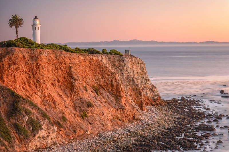 Punkt Vicente Light, Kalifornien fotografering för bildbyråer