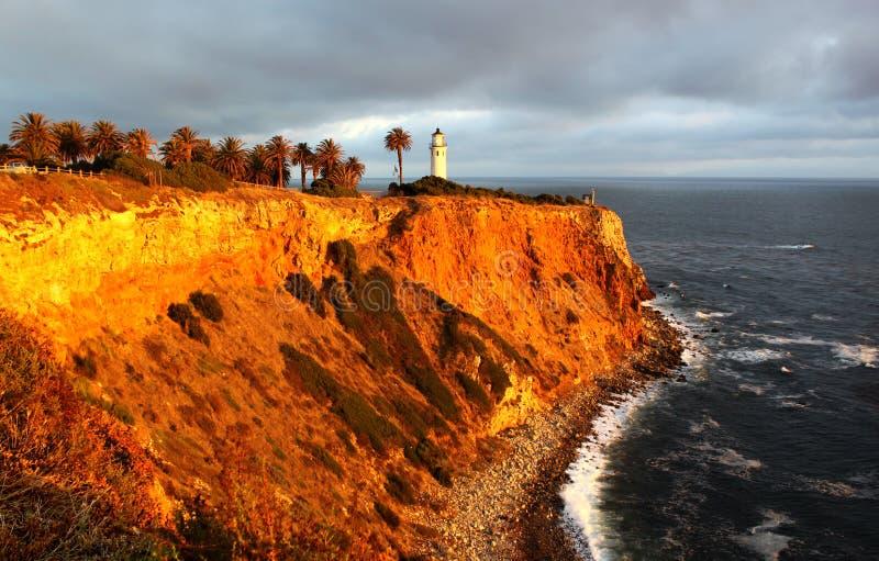 Punkt Vicente Lighthouse i Kalifornien, USA fotografering för bildbyråer
