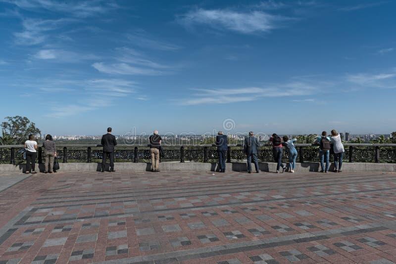 Punkt widzenia nad Zaporoską rzeką w Kijów, Ukraina obraz stock