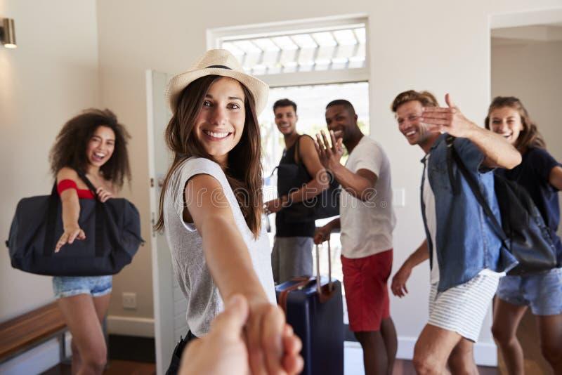 Punkt Widzenia Strzelający przyjaciele Opuszcza wakacje wynajem fotografia royalty free