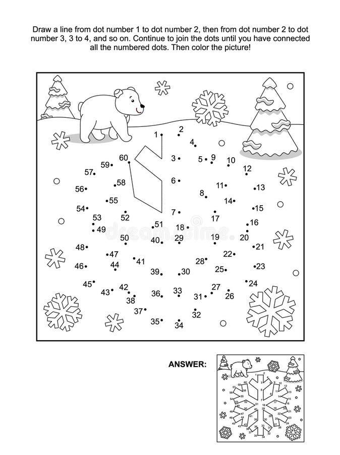 Punkt-zu-Punkt und Farbtonseite - Schneeflocke vektor abbildung