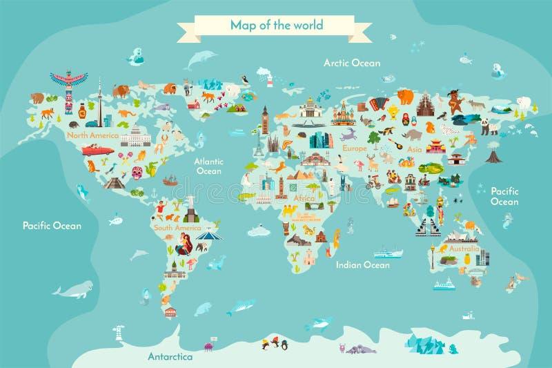Punkt zwrotny światowej mapy kreskówki wektorowa ilustracja royalty ilustracja