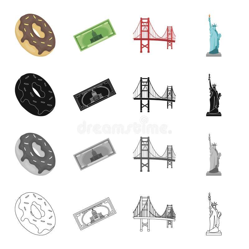 Punkt zwrotny, Ameryka, kraj i inna sieci ikona w kreskówce, projektujemy Ojczyzna, matka, zabytek, ikony w ustalonej kolekci royalty ilustracja