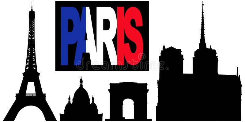 punkt zwrotny bandery Paris tekst royalty ilustracja
