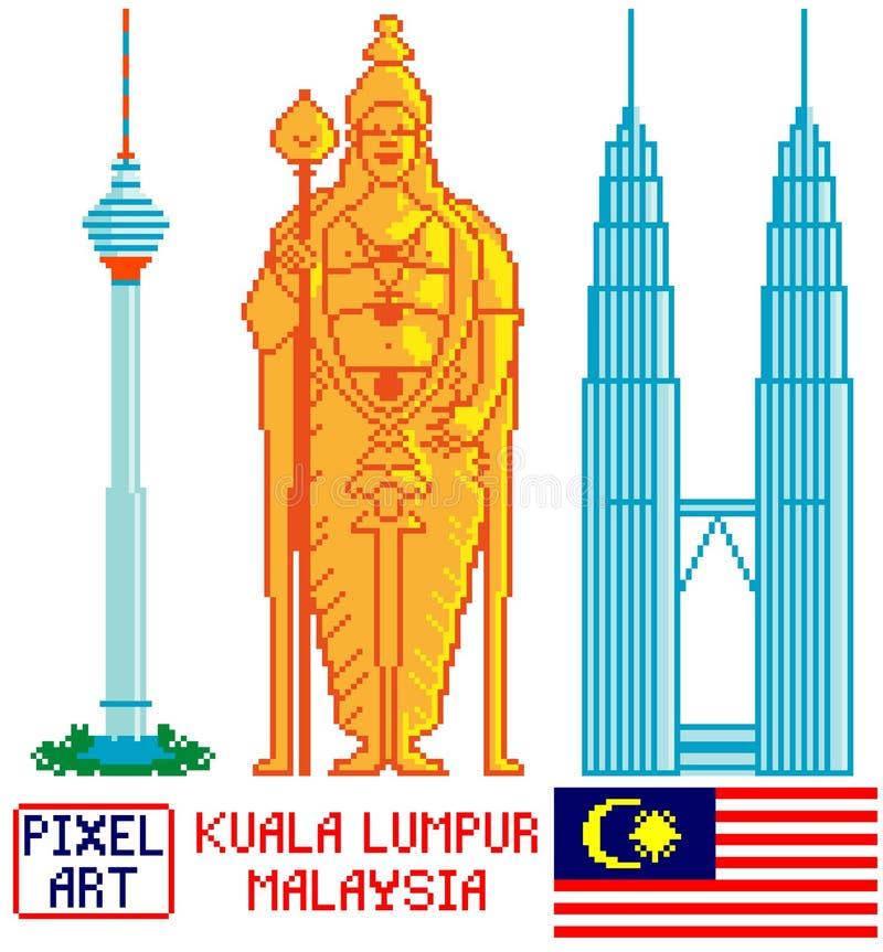 Punkt zwrotny Kuala Lumpur, Malezja w piksel sztuce royalty ilustracja