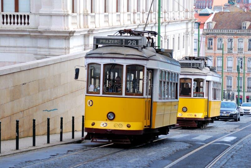 punkt zwrotny Lisbon Portugal tramwajowy kolor żółty zdjęcie royalty free