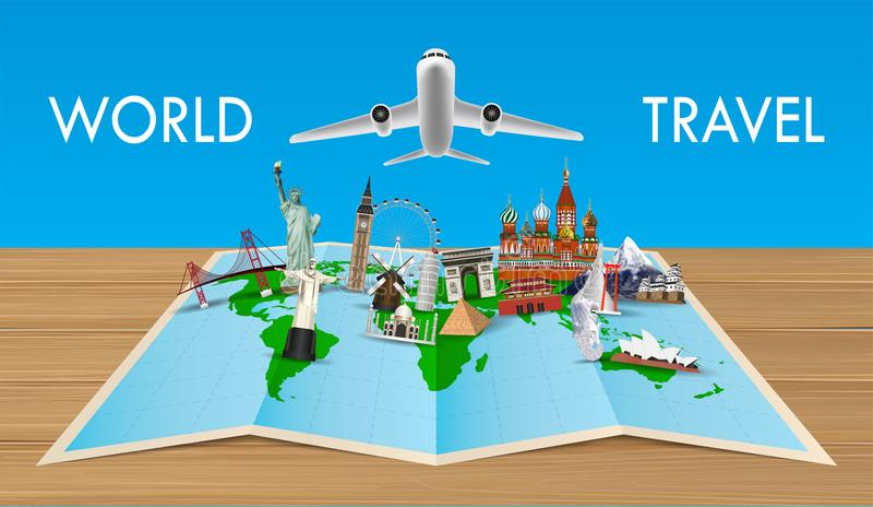 Punkt zwrotny na światowej mapie z latającym samolotem royalty ilustracja
