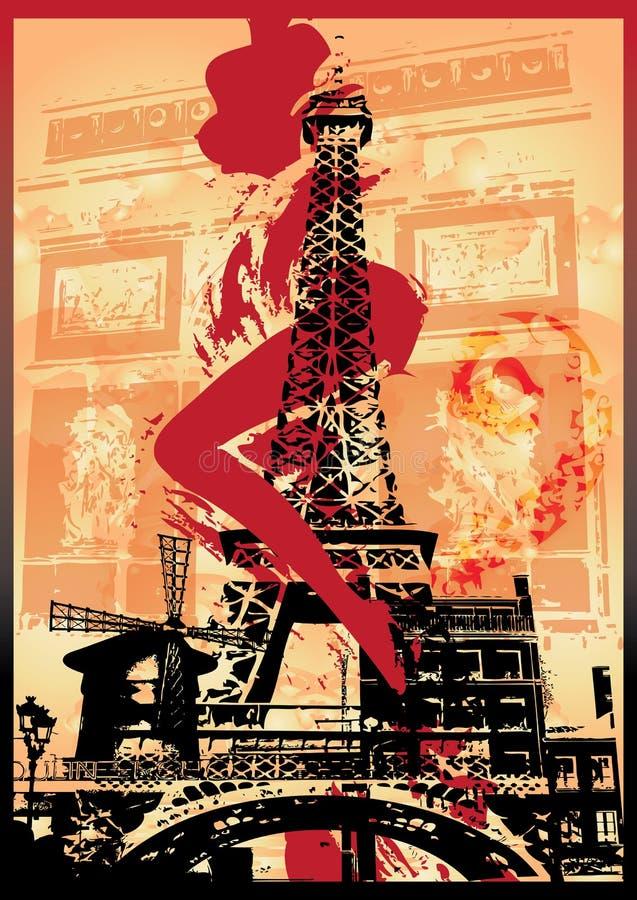 punkt zwrotny Paris kobieta royalty ilustracja
