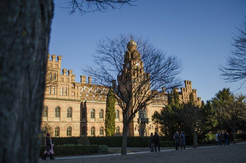 Punkt zwrotny w Chernivtsi, Ukraina, ortodoksyjny kościół przy uniwersytetem poprzednia metropolita siedziba zdjęcie royalty free