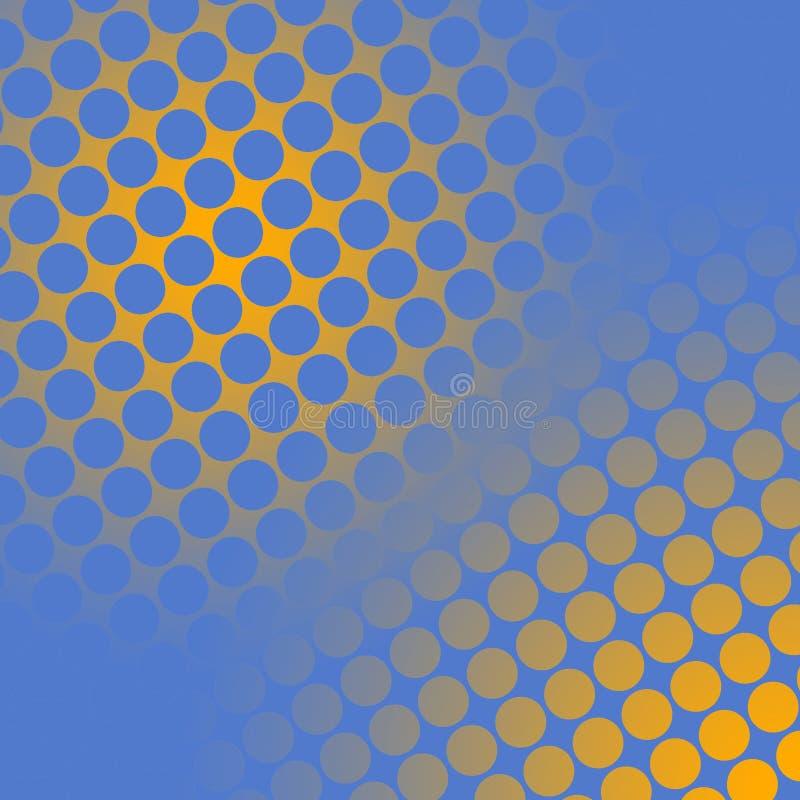 Punkte auf Gelbem und Blau stock abbildung