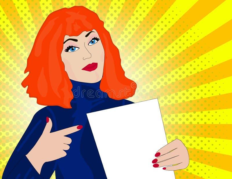 Punkter för kvinna för popkonst till en tom mall retro illustration stock illustrationer