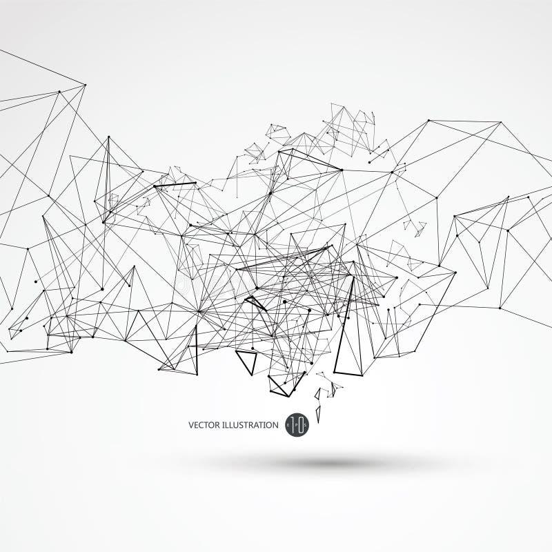 Punktieren Sie die Linie, die an die abstrakten Grafiken, die Bedeutung der Network Connection angeschlossen wird lizenzfreie abbildung