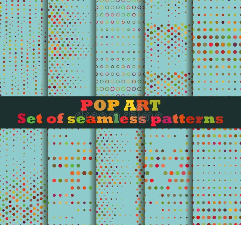 Punktiert, nahtloser Musterhintergrund der Pop-Art Pop-Art punktierte Retrostilmuster lizenzfreie abbildung