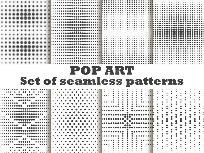 Punktiert, nahtloser Mustersatz der Pop-Art Halbtonbild punktiert Hintergrund Schwarzweiss-Farbe Vektor lizenzfreie abbildung