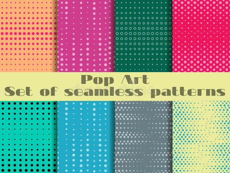 Punktiert, nahtloses Muster der Pop-Art Hintergrund in der Pop-Arten-Art Stellen Sie Hintergrundmuster ein stock abbildung