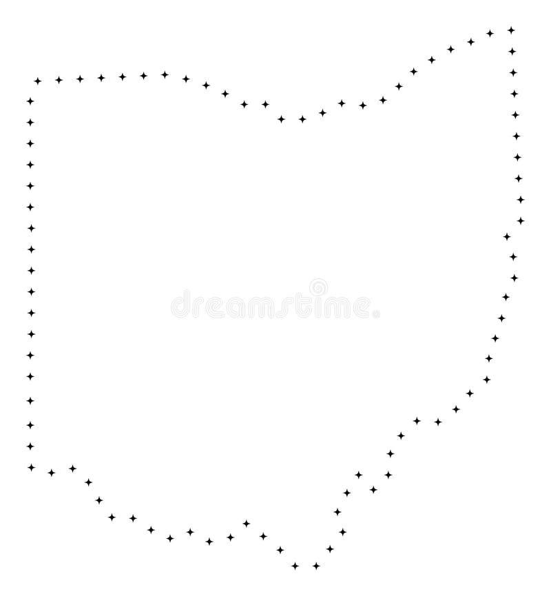Punktierte Anschlag-Staat Ohio-Karte stock abbildung