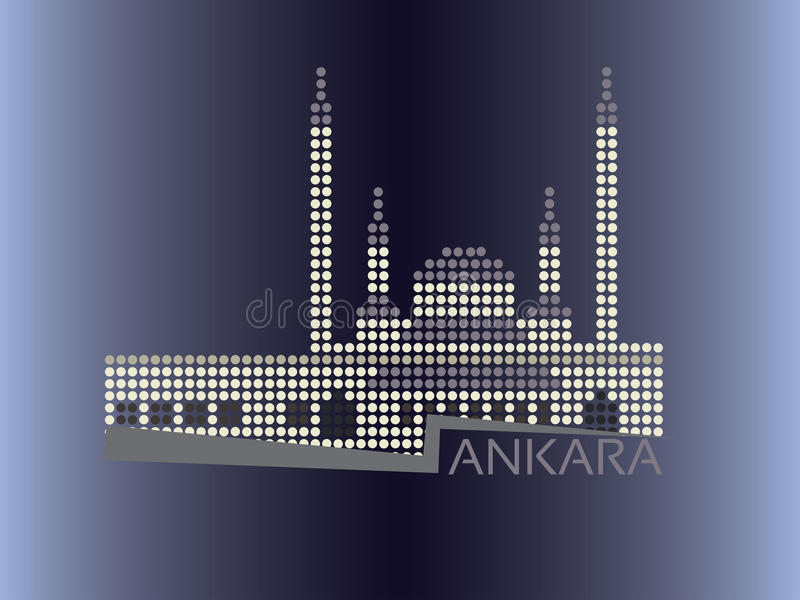 Punktierte Artillustration Ankaras - Kocatepe Moschee vektor abbildung