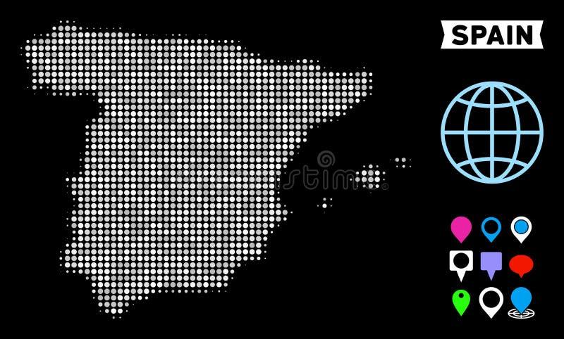Punktierte Halbton-Spanien-Karte stock abbildung