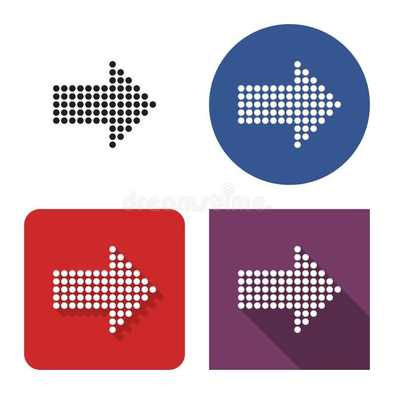 Punktierte Ikone des Pfeiles der richtigen Richtung in vier Varianten stock abbildung