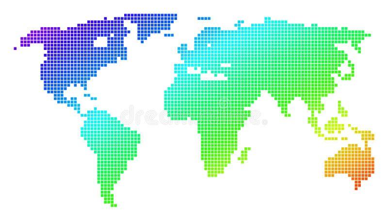 Punktierte Pixel-Spektrum-Weltkarte vektor abbildung