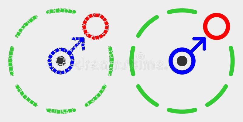 Punktierte und flache Vektor-Bewegung, Umkreis-Ikone einzukreisen lizenzfreie abbildung