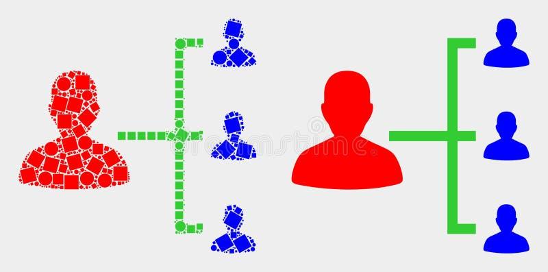 Punktierte und flache Vektor-Leute-Hierarchie-Ikone lizenzfreie abbildung