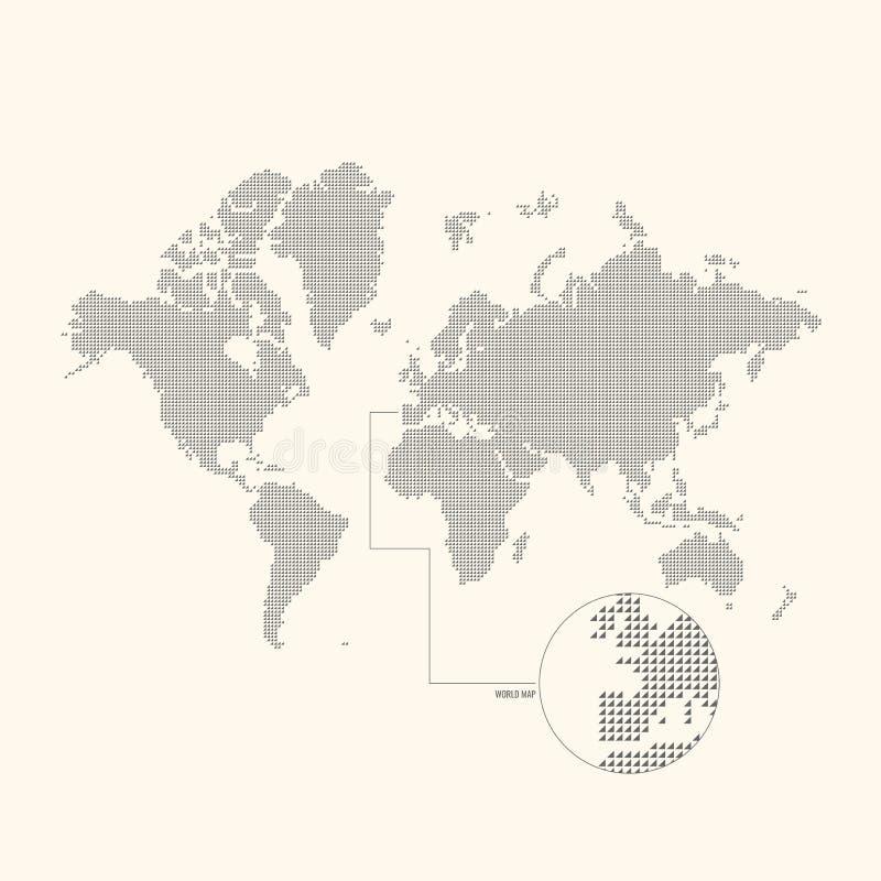 Punktierte Weltkarte auf einem hellen Hintergrund Auch im corel abgehobenen Betrag stock abbildung