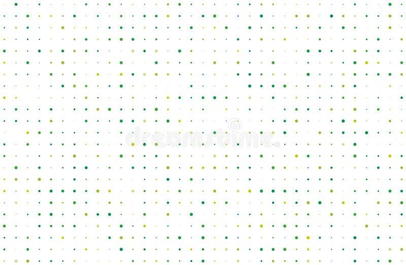 Punktierter Hintergrund mit Kreisen, Punkte, zeigen unterschiedliche Größe, Skala Halbtonmuster Grün auf weißer Farbevektorillust stock abbildung
