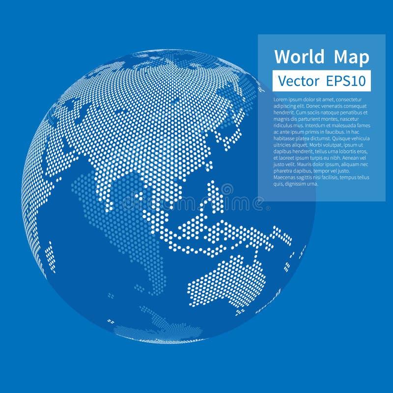Punktierter Weltkartenhintergrund BEDECKEN SIE KUGEL MIT ERDE Getrennt auf Weiß stock abbildung