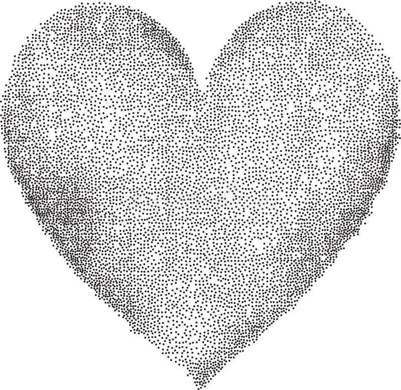 Punktiertes Herz auf weißem Hintergrund stock abbildung