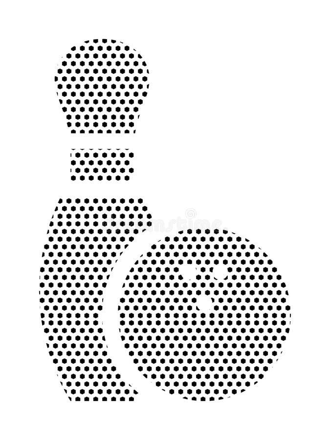 Punktiertes Muster-Bild eines rollenden Pin und der Schüssel lizenzfreie abbildung