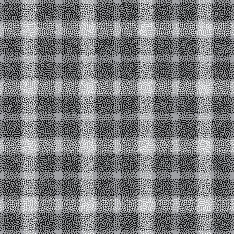 Punktiertes nahtloses Muster des karierten Vektors Abstrakter Punktstreifenhintergrund Schottenstoff in der modernen Art für Ober stock abbildung