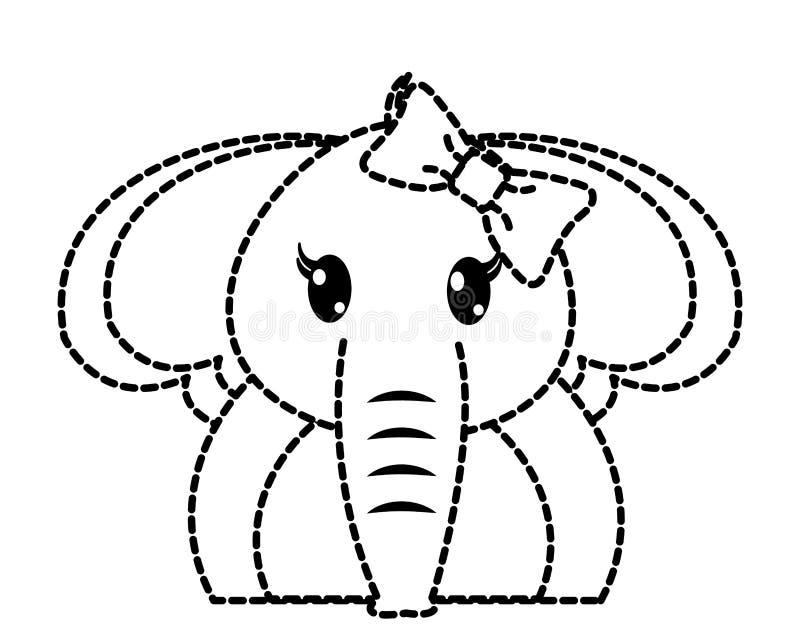 Punktiertes nettes Tier des entzückenden weiblichen Elefanten der Form lizenzfreie abbildung